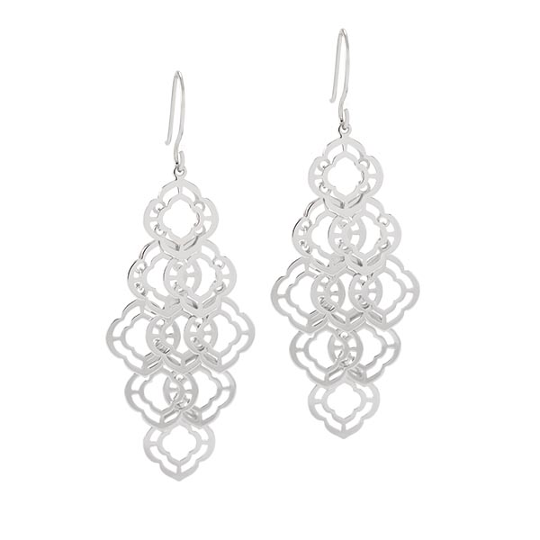 ER1024 Silver Quatrefoil Chandelier Drop Earrings